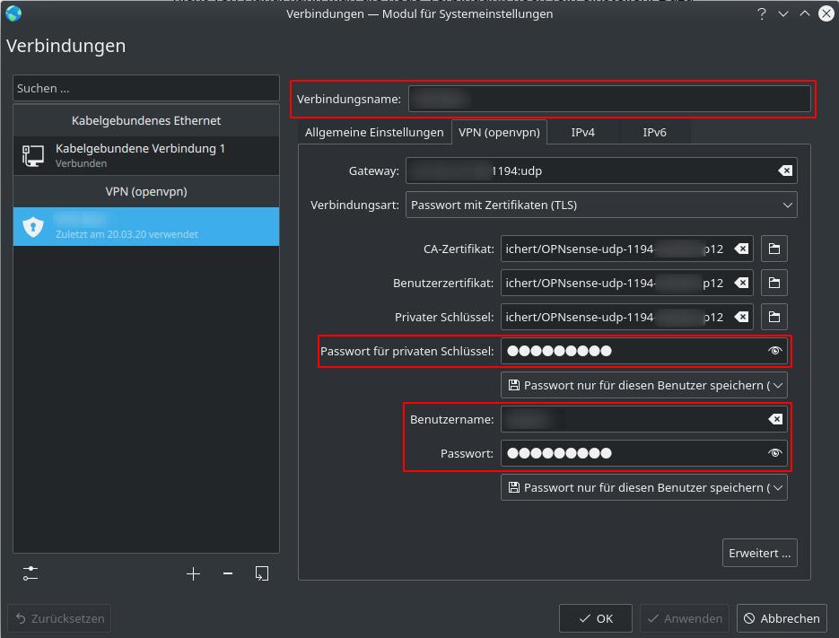 OpenVPN Client KDE: Konfiguration über Networkmanager