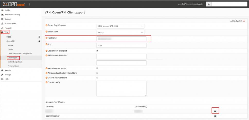 OPNsense OpenVPN: Clientexport