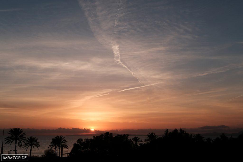 Sonnenuntergang vom Hotelbalkon aus gesehen