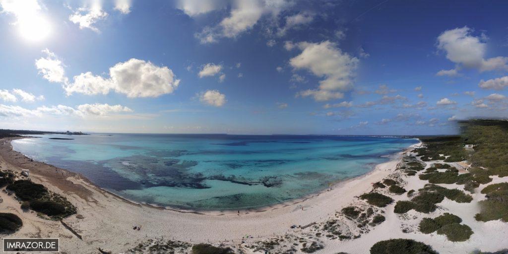 Der Strand von Es Trenc aus der Vogelperspektive