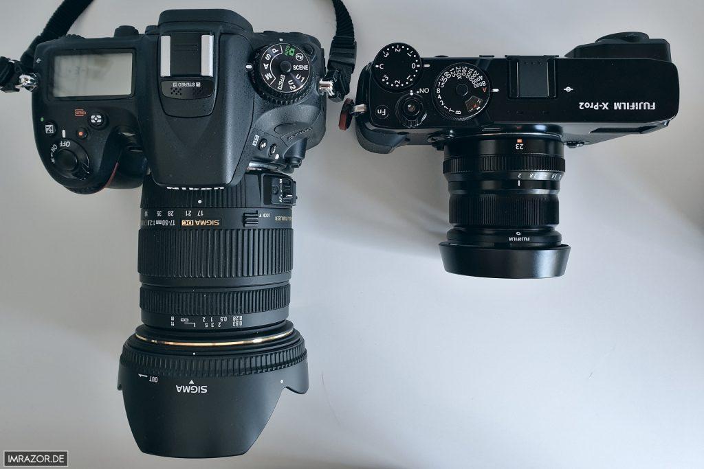 Größenvergleich: Nikon D7100 mit SIGMA 17-50 und Fujifilm X-Pro 2 mit XF23mm