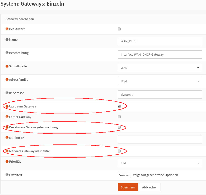 WAN Gateway-Konfiguration