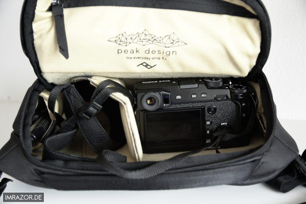 Peak Design Everyday Sling 5L - Bestückt mit Fujifilm X-Pro2 mit aufgeseztem XF 35 F2