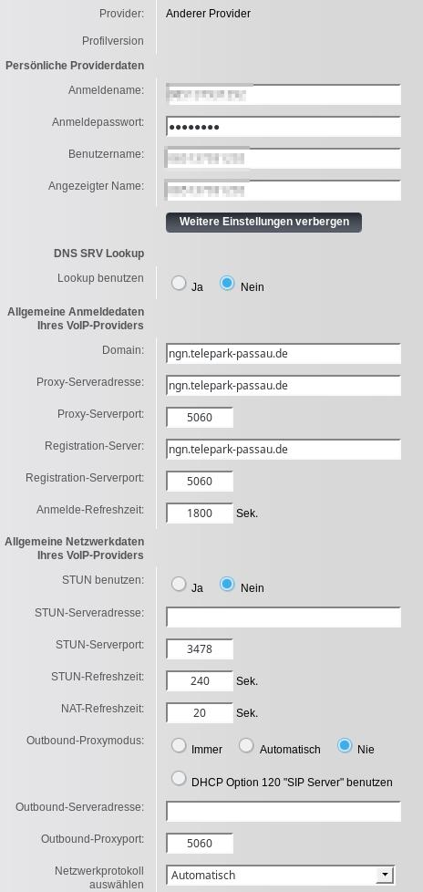 Gigaset: VoiP Konfiguration